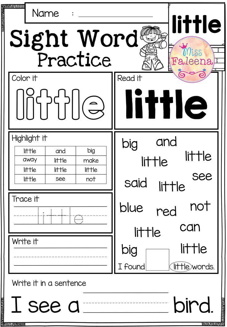 Sight Word Practice (PrePrimer) Word practice, Sight