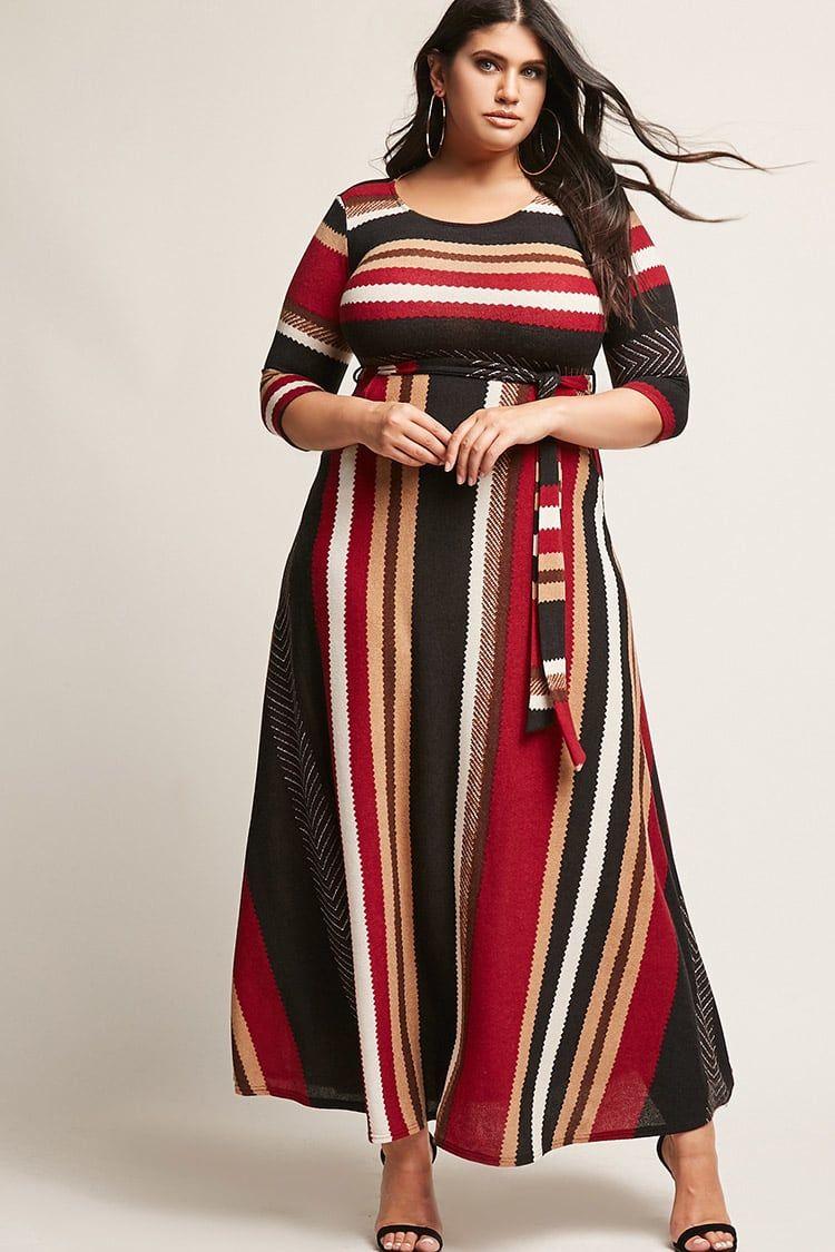 Chevron Stripe Maxi Sweater Dress