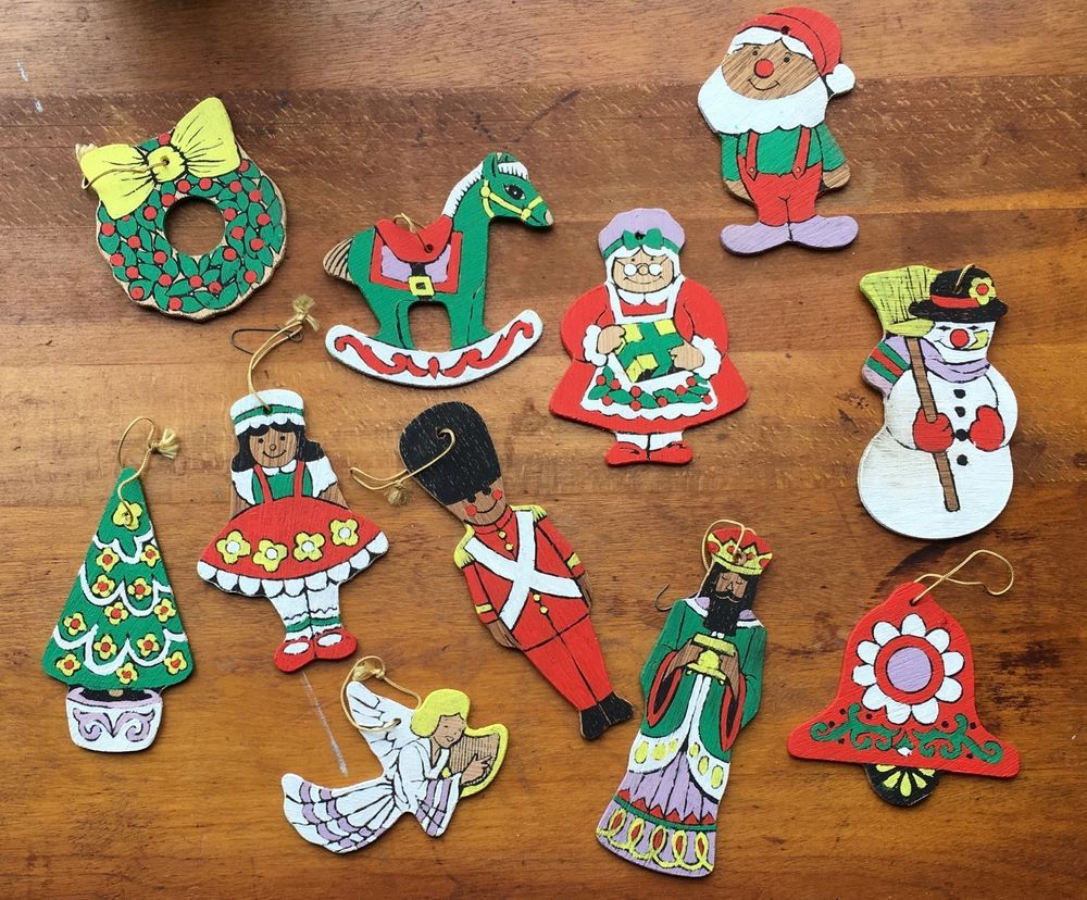 Vintage Arrow Wooden Christmas Ornaments Paint By Number Lot Of 11 C