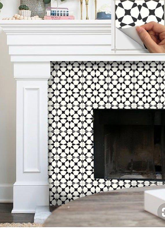 Tile Sticker Kitchen Bath Floor Fireplace Waterproof Etsy In 2020 Tile Stickers Kitchen Stick On Tiles Fireplace Tile