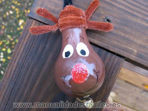 Reno decoraci n navidad limpiapipas bombilla reciclaje for Reciclaje manualidades decoracion