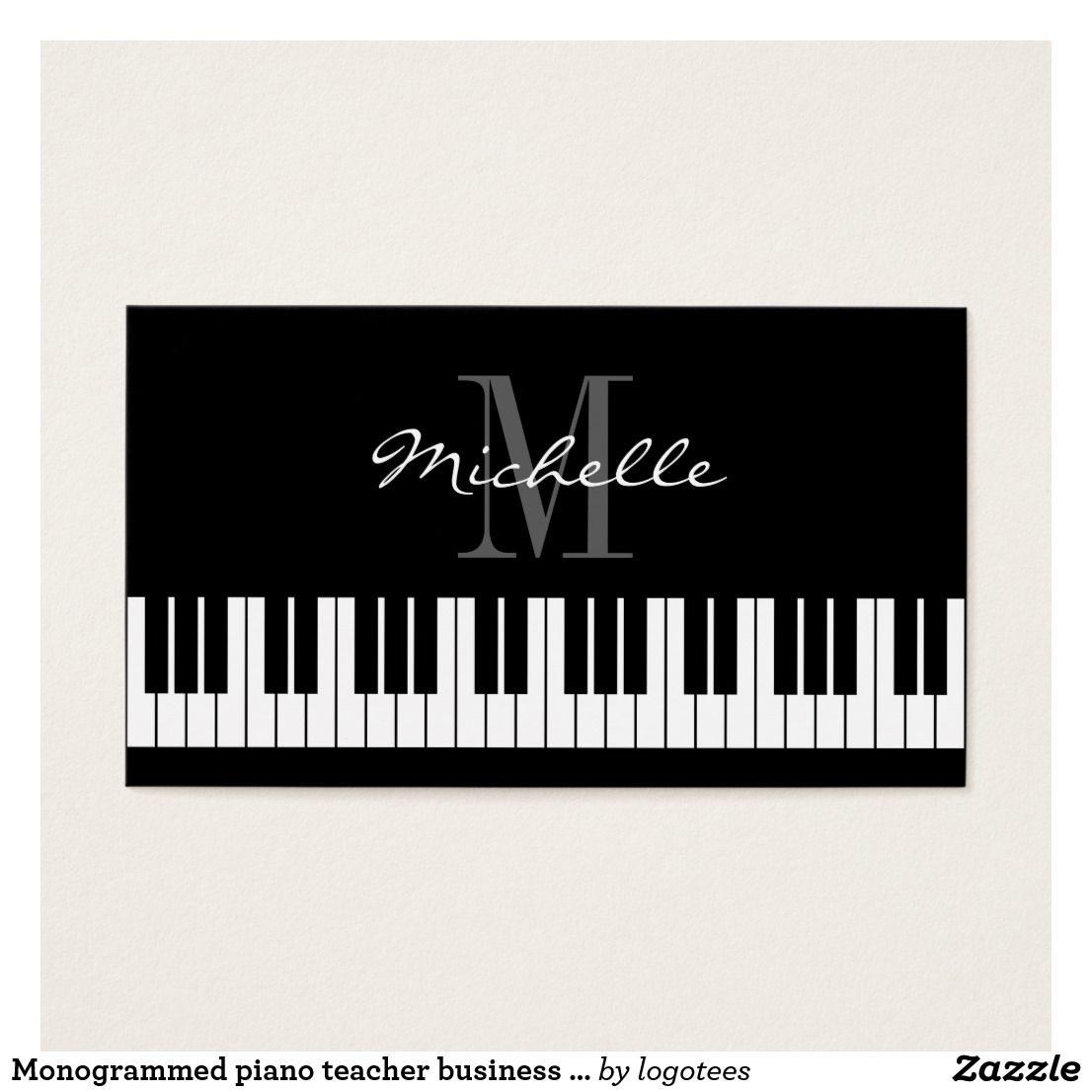 Monogrammed piano teacher business card template   Pinterest ...