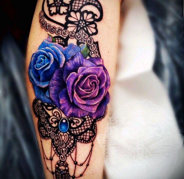 Love The Colors Not The Design Lace Tattoo Purple Tattoos Purple Rose Tattoos