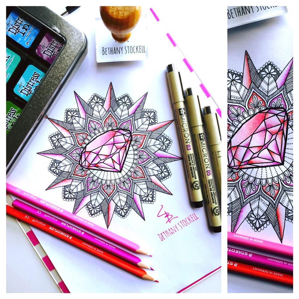 Diamond Mandala Drawing by Bethany Stockell (BLS Designs). All rights reserved.
