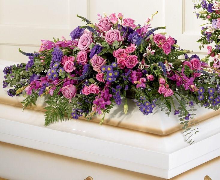 Lavender Haze Casket Spray Casket Flowers Funeral Flower Arrangements Funeral Flowers