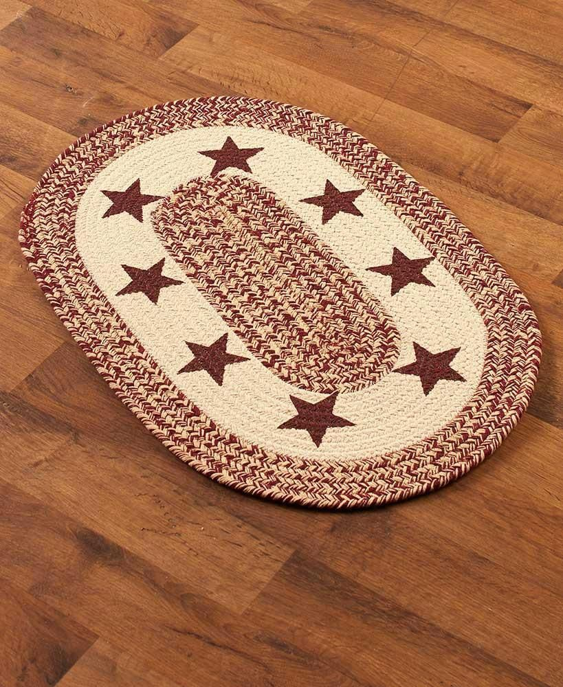 Lodge Country Themed Braided Rug Runner Or Set Deer Bear Country Star Decortips Oval Braided Rugs Rugs Western Home Decor