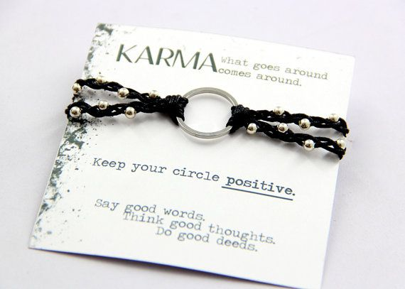 Viriya Karma Bracelet In Black Cord And Silver Metal By Soulsparks