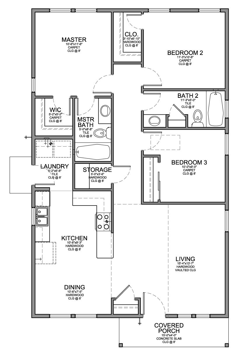 floor plan for a small house 1150 sf with 3 bedrooms and 2 baths - Three Bedroom House