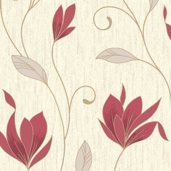 Synergy Glitter Floral Wallpaper Rich Red Cream Gold Glitter