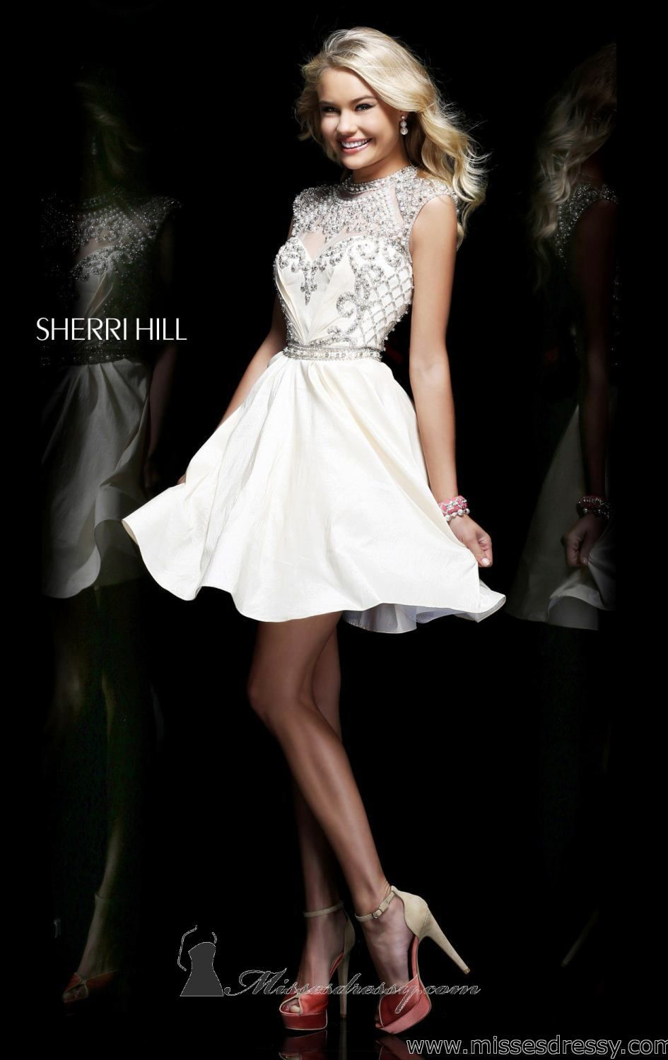 2015 Sherri Hill 4300 Ivory Beaded Short Aline Cocktail Dress pin in Dresses  by Cwewtwt.