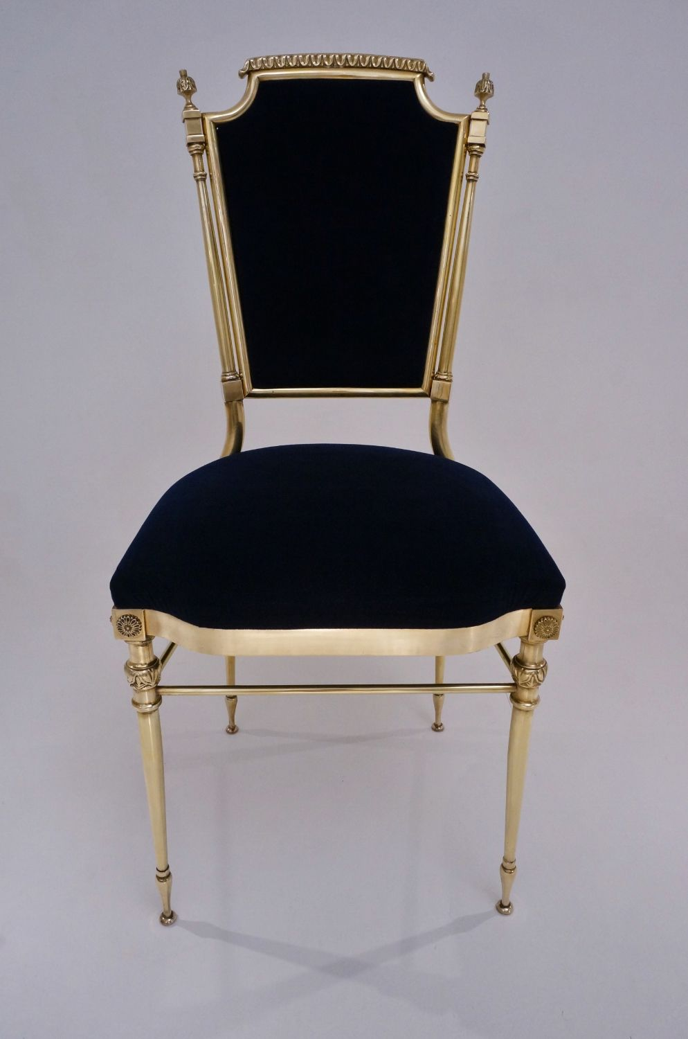 (camden town) Neoclassical brass chairs, a set of four, 1950`s ca, French