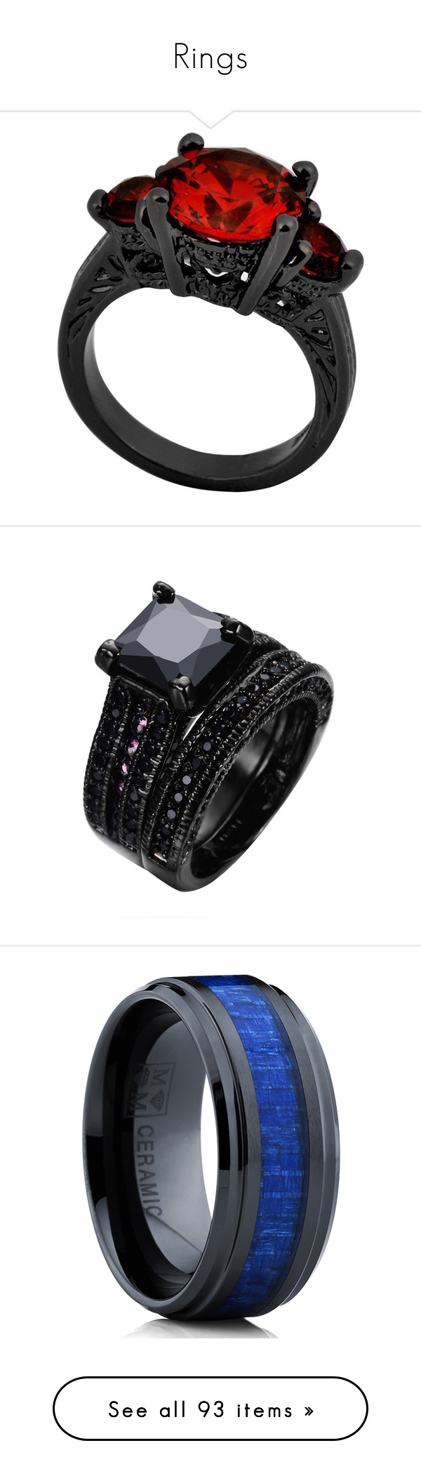 """""""Rings"""" by blackwolf1099 ❤ liked on Polyvore featuring jewelry, rings, accessories, red, wedding jewelry, wedding rings, bridal wedding rings, bridal jewelry, ruby wedding rings and diamond engagement rings"""