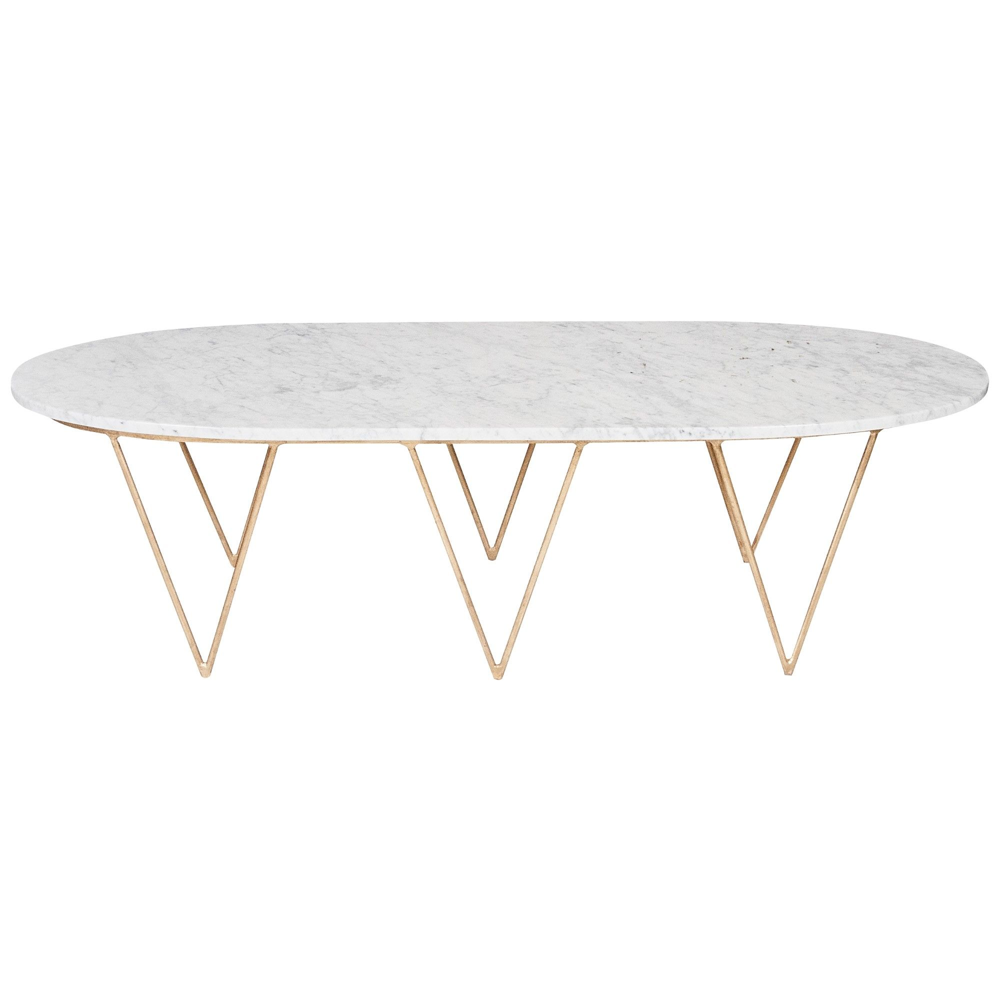 Oval Hairpin Coffee Table With White