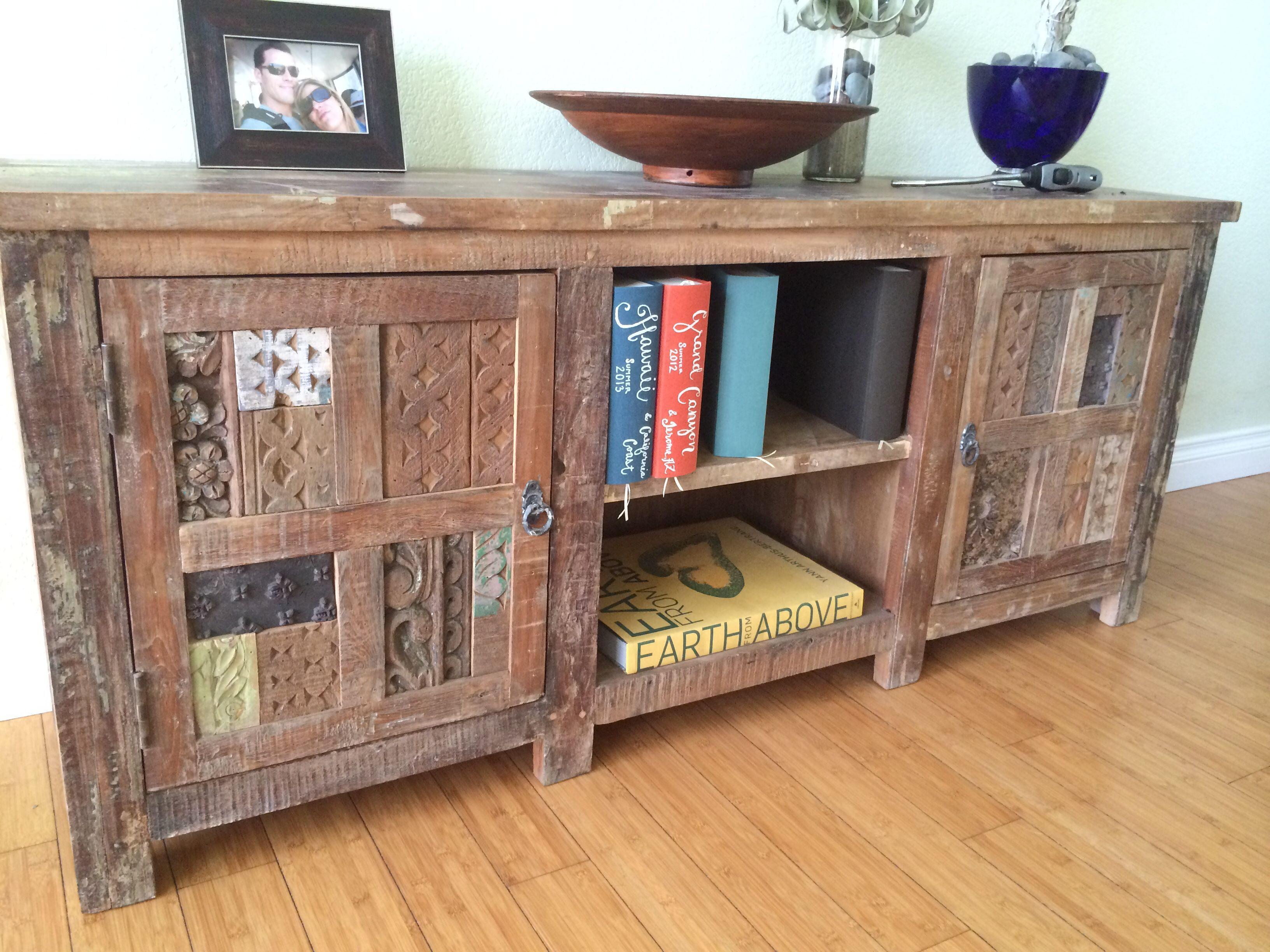 Go green with our new reclaimed teak western decor furniture available - Indian Boat Wood Reclaimed Tv Stand Teak