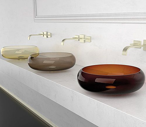 GLO Ball countertop washbasin in Murano glass from exclusive design and  fine colours.Murano Glass is a synonym for elegance and timelessness.