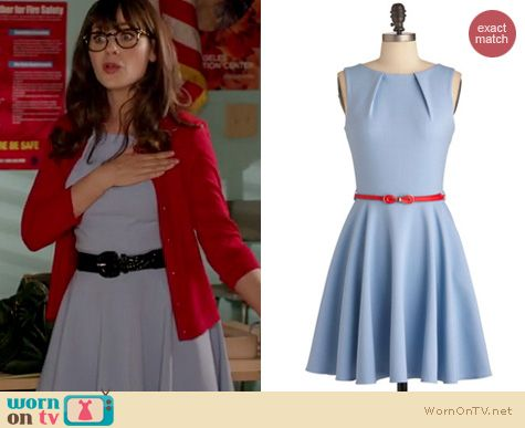 Jess s pastel blue dress with red cardigan and black belt on New Girl.  Outfit details 62fc797cd
