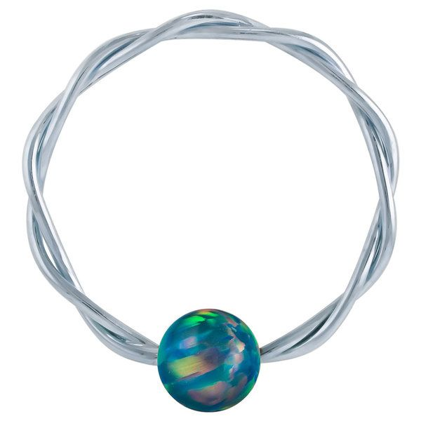 Teal Opal - Solid 14K White Gold Twisted Captives in 14G - 20G at FreshTrends.com