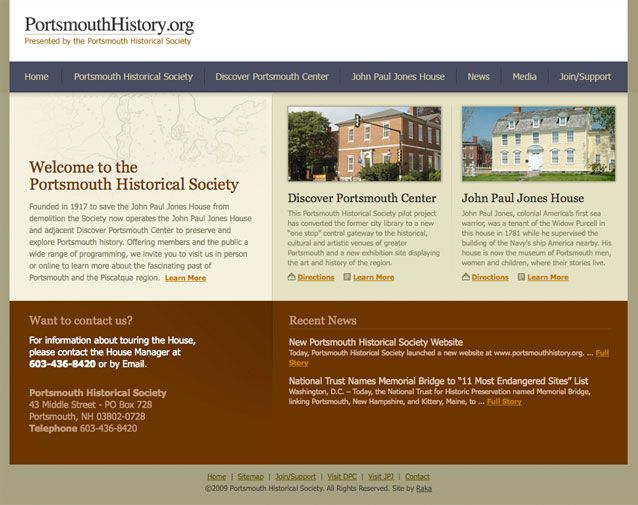 Raka Designed And Developed A Website For The Portsmouth Historical Society That Showcases The Dis Web Development Design Historical Society Design Development