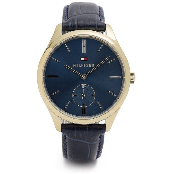 Tommy Hilfiger Croc-Embossed Navy Watch (180 CAD) ❤ liked on Polyvore featuring jewelry, watches, tommy hilfiger, navy blue watches, crocodile jewelry, tommy hilfiger jewelry and water resistant watch