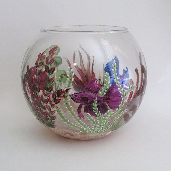 Hand Painted Beta Fish Bowl Decorative Fish Tank Aquatic Theme Large Painted Glass Bowl