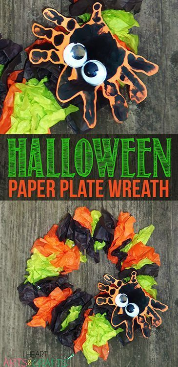 Halloween Paper Plate Wreath Kids Craft is part of Kids Crafts Halloween Hand Prints - I was going to wait until at least September to post my first Halloween craft but I'm sharing this one a little early because I love how it turned out  And who doesn't love an easy paper plate craft  The personalized hand print spider gives it the perfect touch! This would be cute to do …