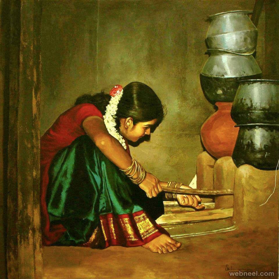 25 Beautiful Rural Indian Women Paintings by Tamilnadu