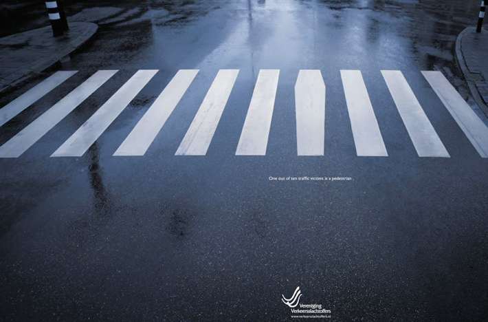 Headline: One in ten traffic victims is a pedestrian. GREAT CONCEPT.