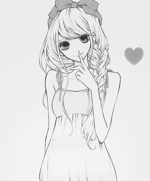 Manga shoujo black and white girl anime