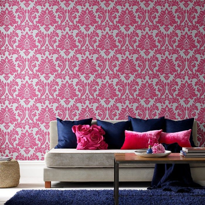 Majestic Damask Wallpaper - Designer Pink Wall Coverings by Graham ...