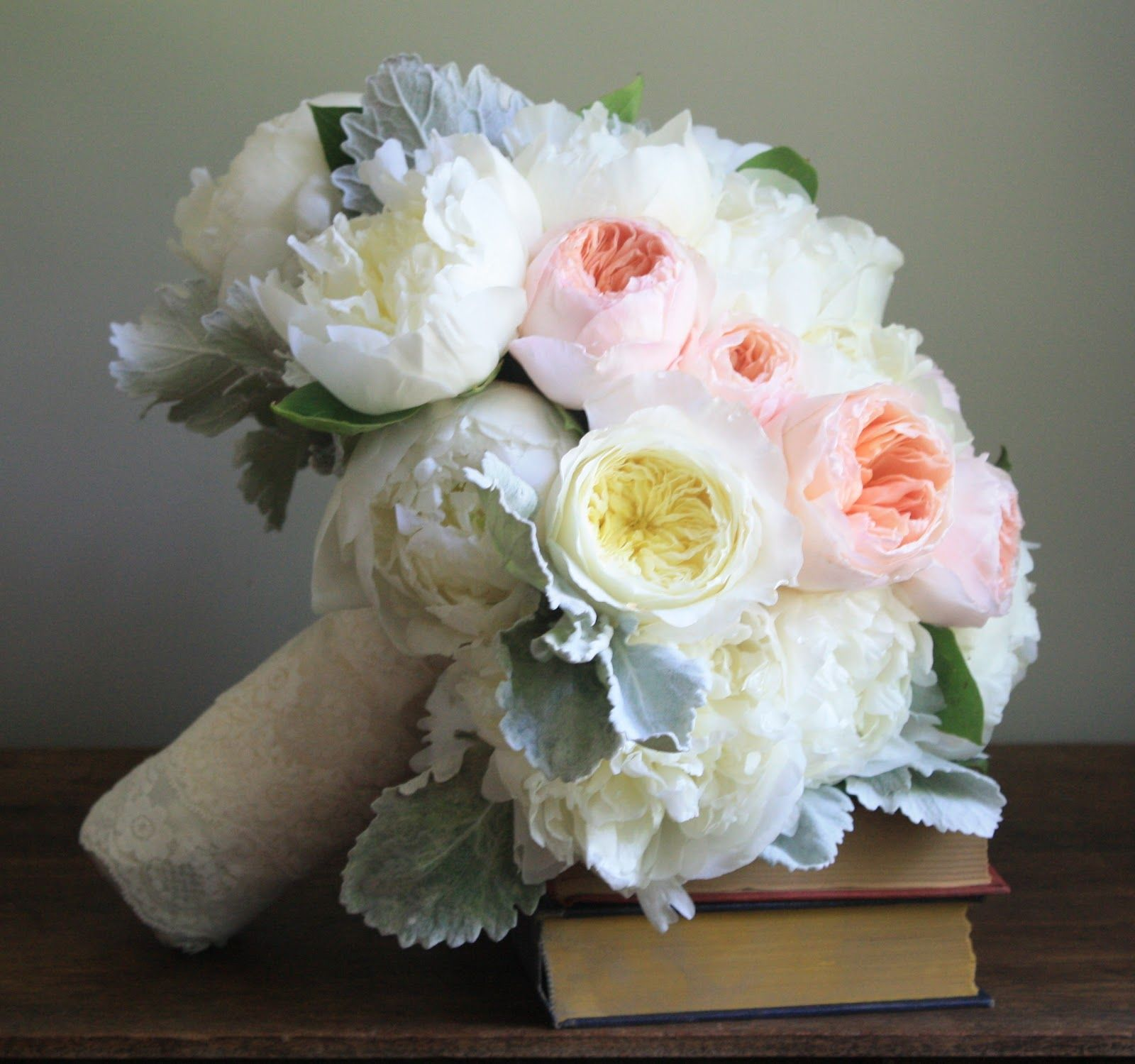 Garden Rose And Peony combination of white peonies and peach juliet roses (leave out