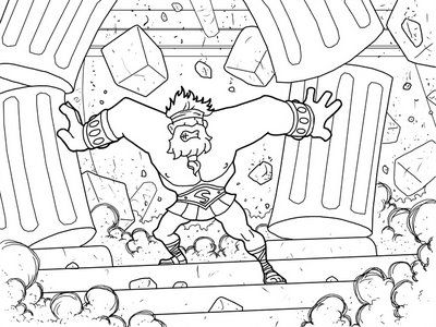 samson coloring page google search cbk lessons activities