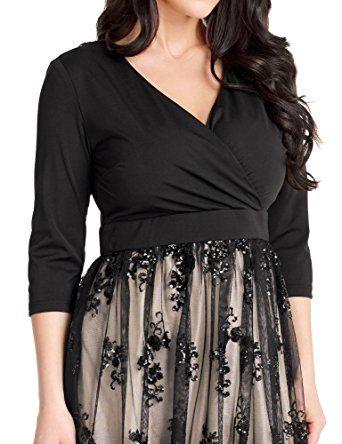 5d1583c94c9 GRAPENT Women s Plus Size Sequin 3 4 Sleeves Evening Gown Party Long Maxi  Dress at