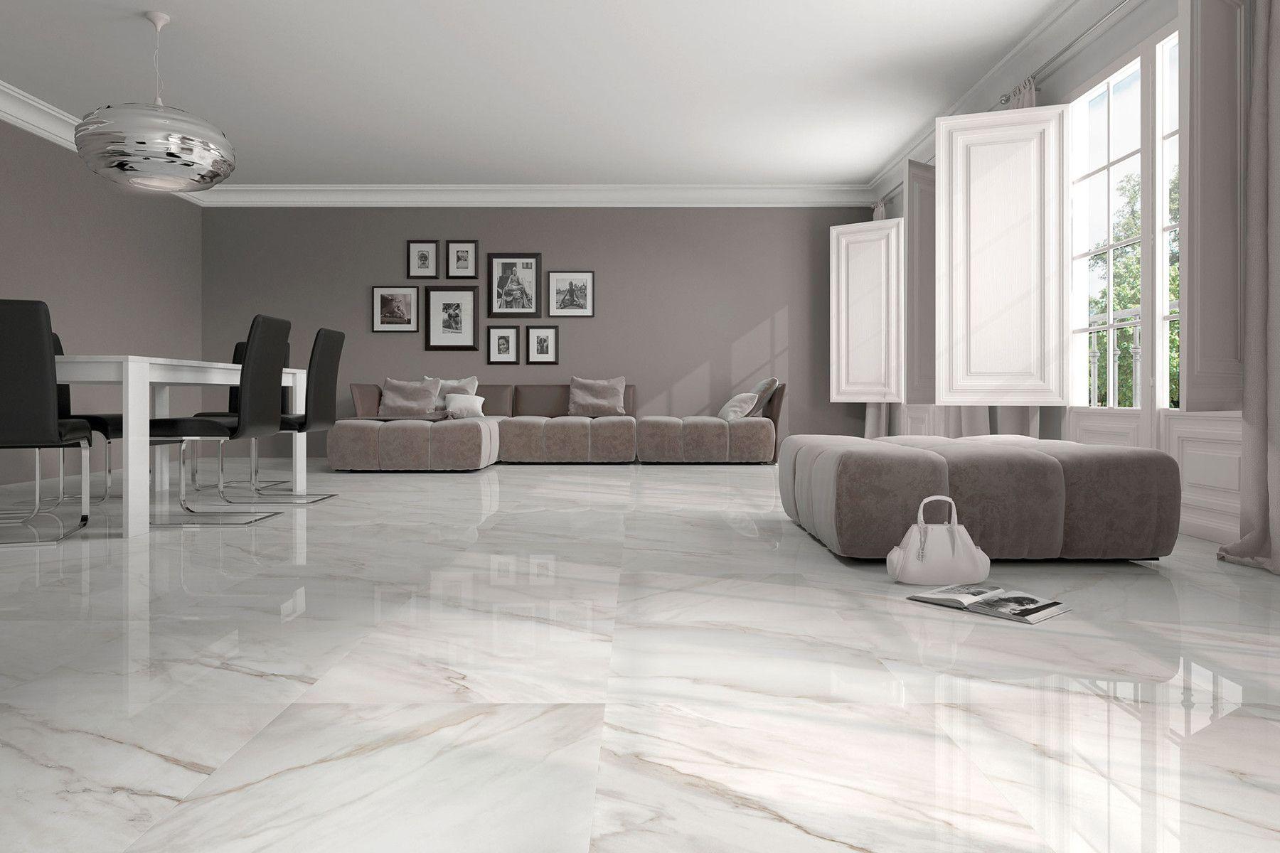 Calacatta Geotiles Living Room White Floor Design