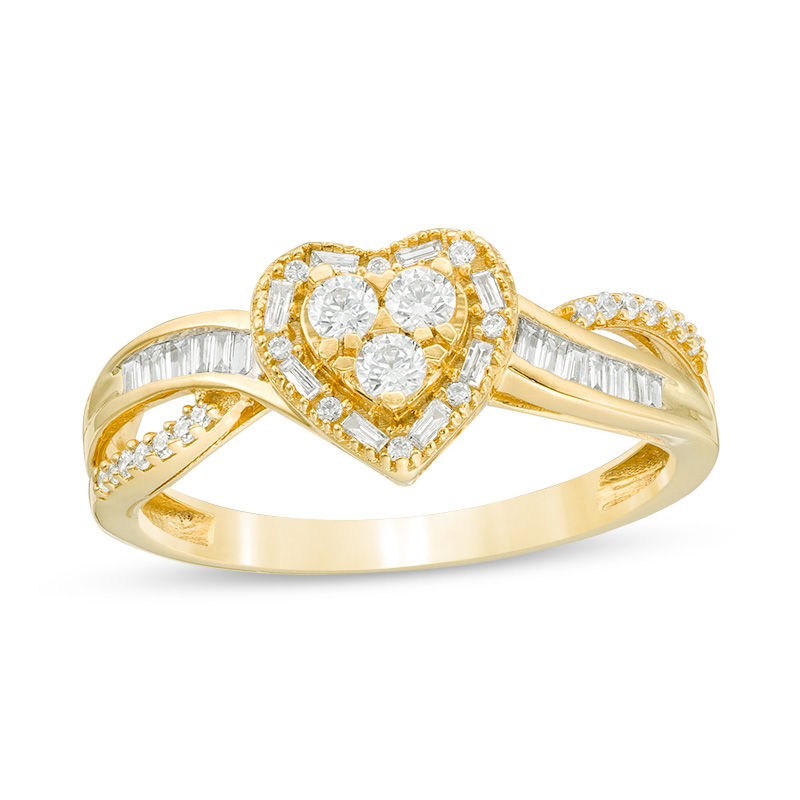 1 3 Ct T W Baguette And Round Trio Diamond Heart Frame Crossover Split Shank Ring In 10k Gold Piercing In 2020 Split Shank Ring Diamond Heart Rings