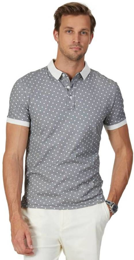 ac24db54b8ef9 Slim Fit Perforated Collar Jersey Polo Shirt