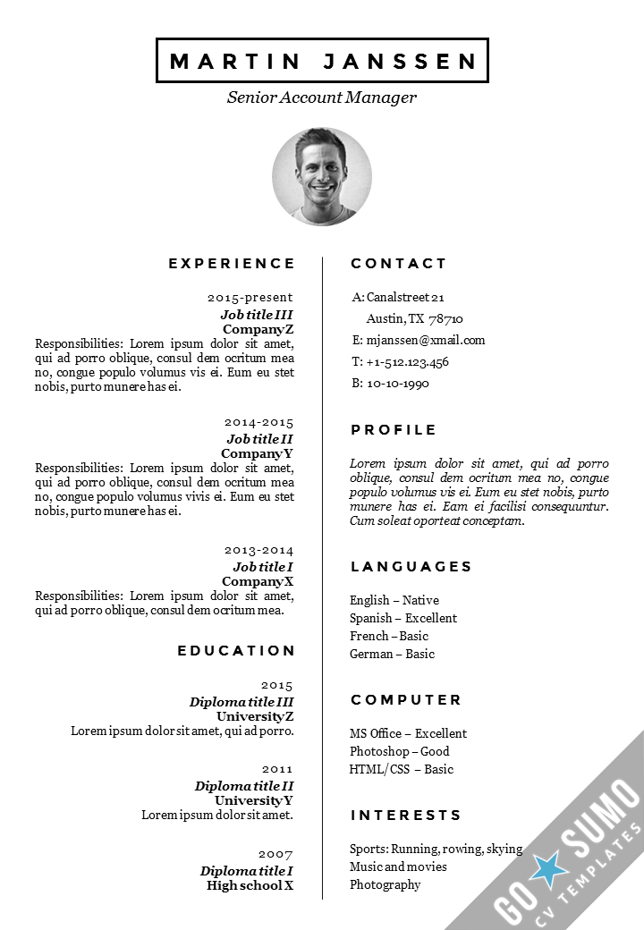 Cv Resume Template In Word Direct Downloadable Fully Editable
