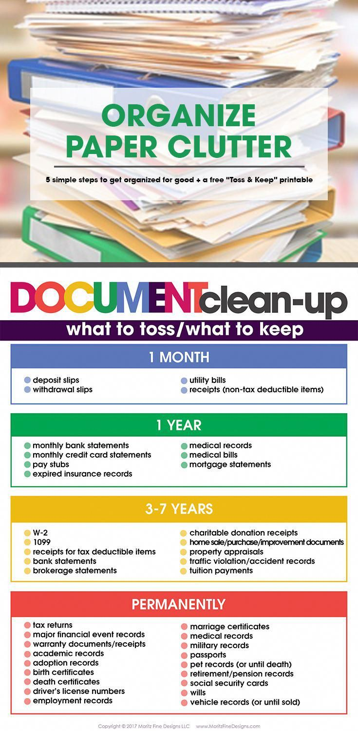 Organize Paper Clutter in 5 Simple Steps | Free Toss & Keep Printable | Home Organization | Clean up your junk #homeIdeas #summerhomeorganization