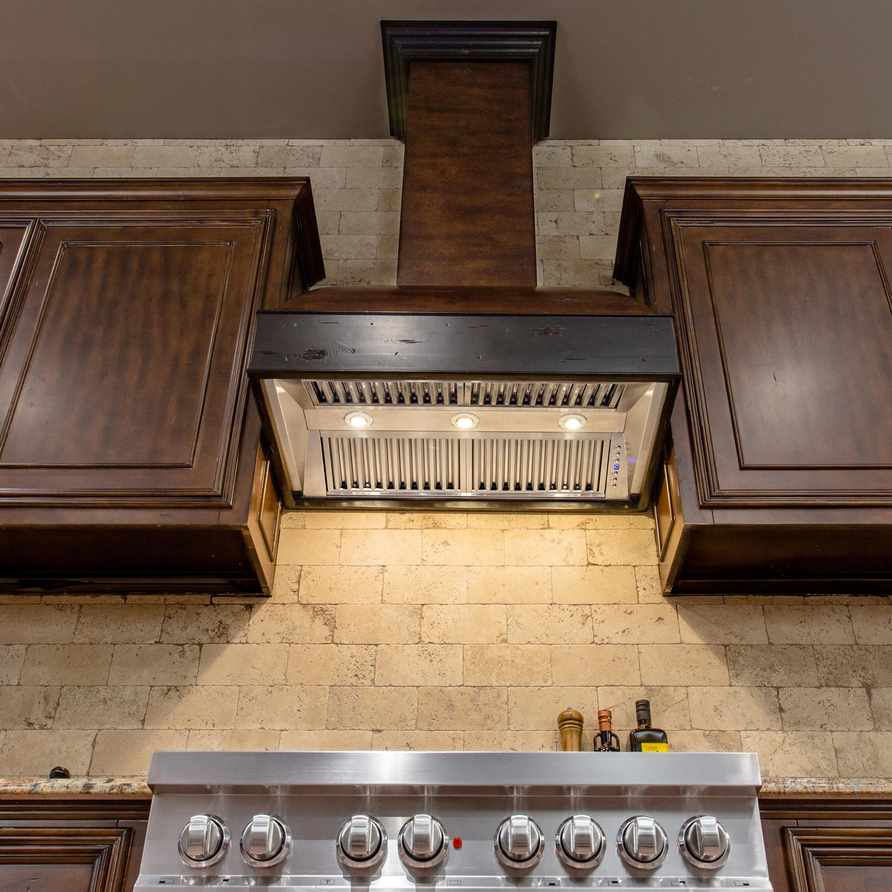 """ZLINE 36"""" Wooden Wall Mount Range Hood in Antigua and Walnut - Includes Remote Motor (369AW-RS-36-400)"""