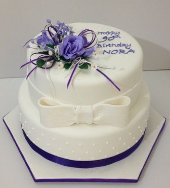 Purple Flowers 90th Birthday Cake