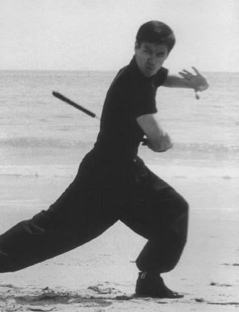 Brucie training on the beach with nunchaku