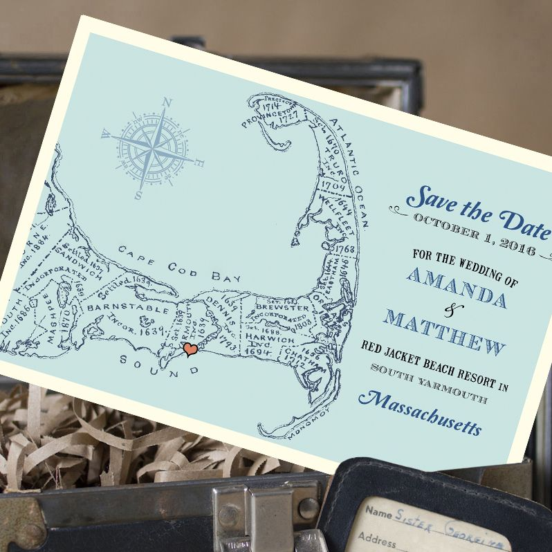 Vintage Map Postcard Save The Date (Cape Cod, MA
