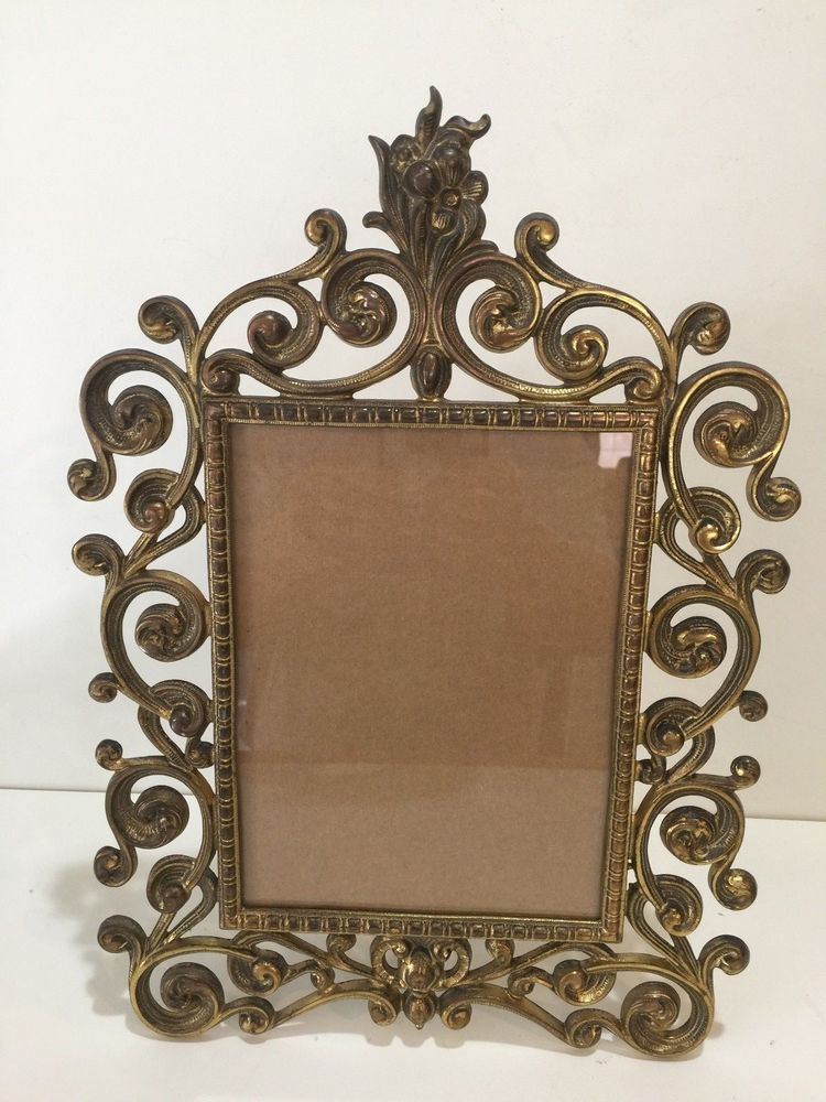 Vintage Large Victorian Brass Easel Selfstanding Table Picture Frame ...