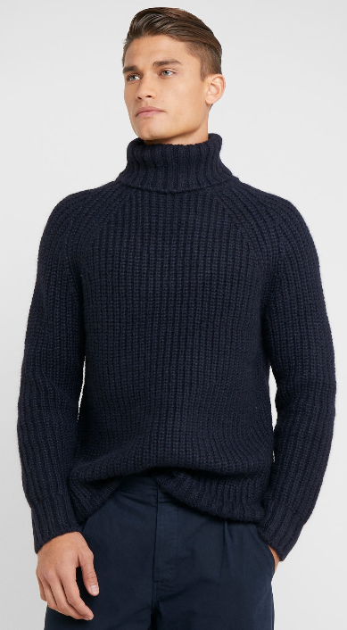 Men Fashion High-Neck Sweater Long Sleeve Loose Knitwear Thick Knitwear Coat New