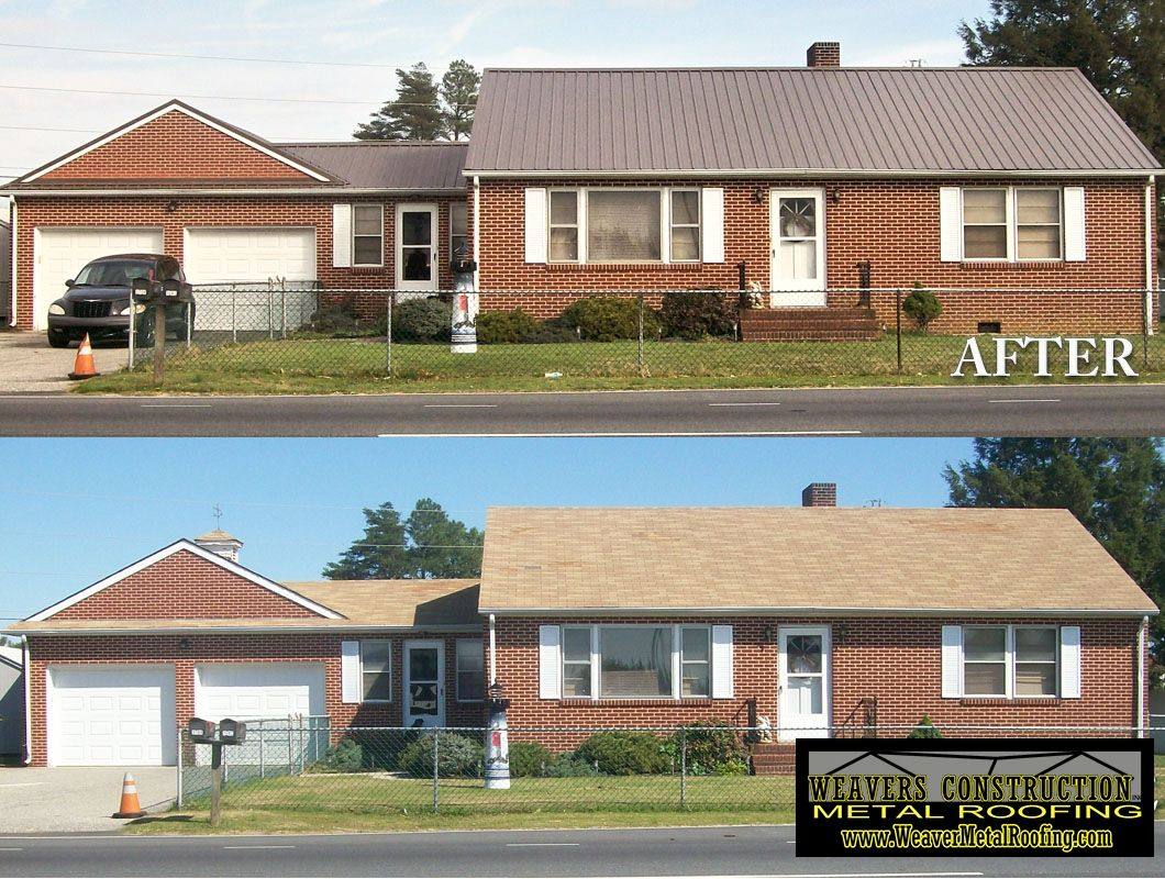 Example of a house before and after the metal roofing system was