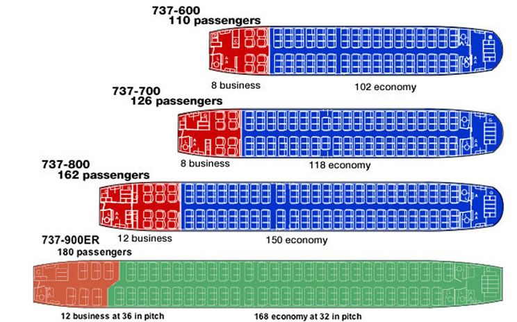 Boeing 737 Seating Charts Boeing Boeing 737 Seating Charts