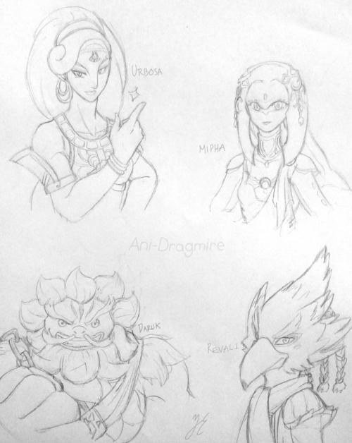 """Urbosa, Mipha, Daruk and Revali"""" Los cuatro campeones. Dibujo que ..."""