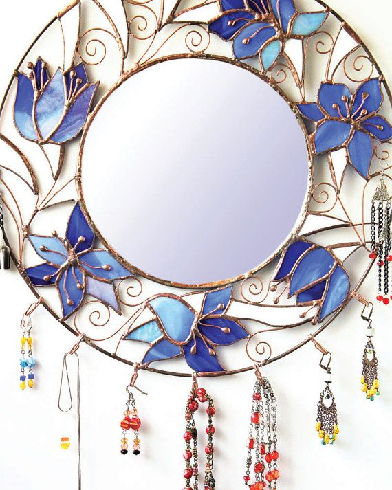 Blue vanity mirror with flowers Round bathroom mirror Wall