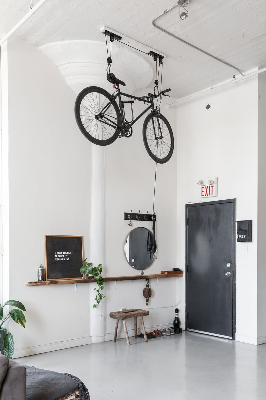 Nautical Scandinavian Style In A Bright White Toronto Loft Bike