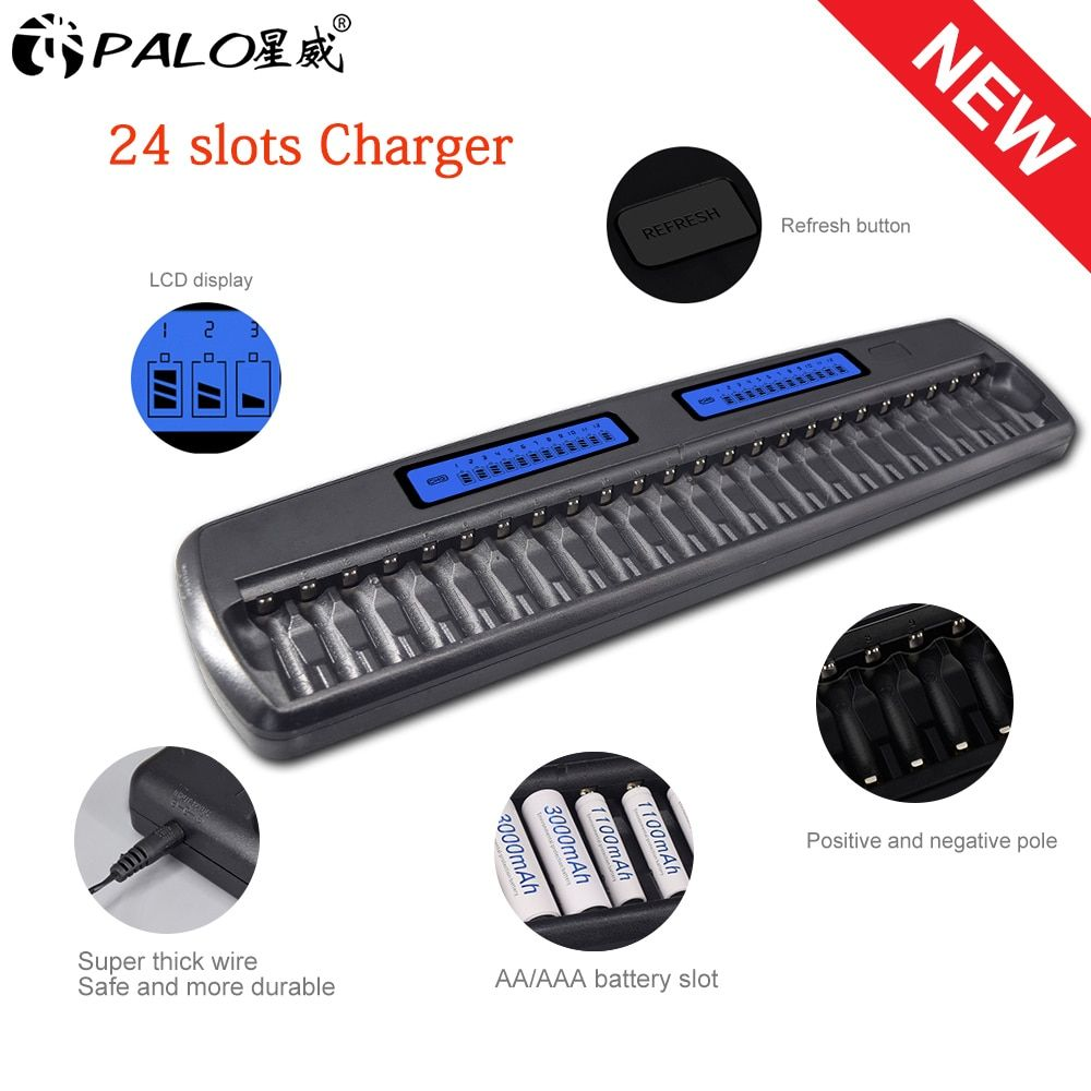 Palo 24 Slots Lcd Smart Battery Charger Ktv Dedicated Fast Charge Discharge For 1 2v Nimh Nicd Aa Aaa Rechargeab Rechargeable Batteries Charger Battery Charger