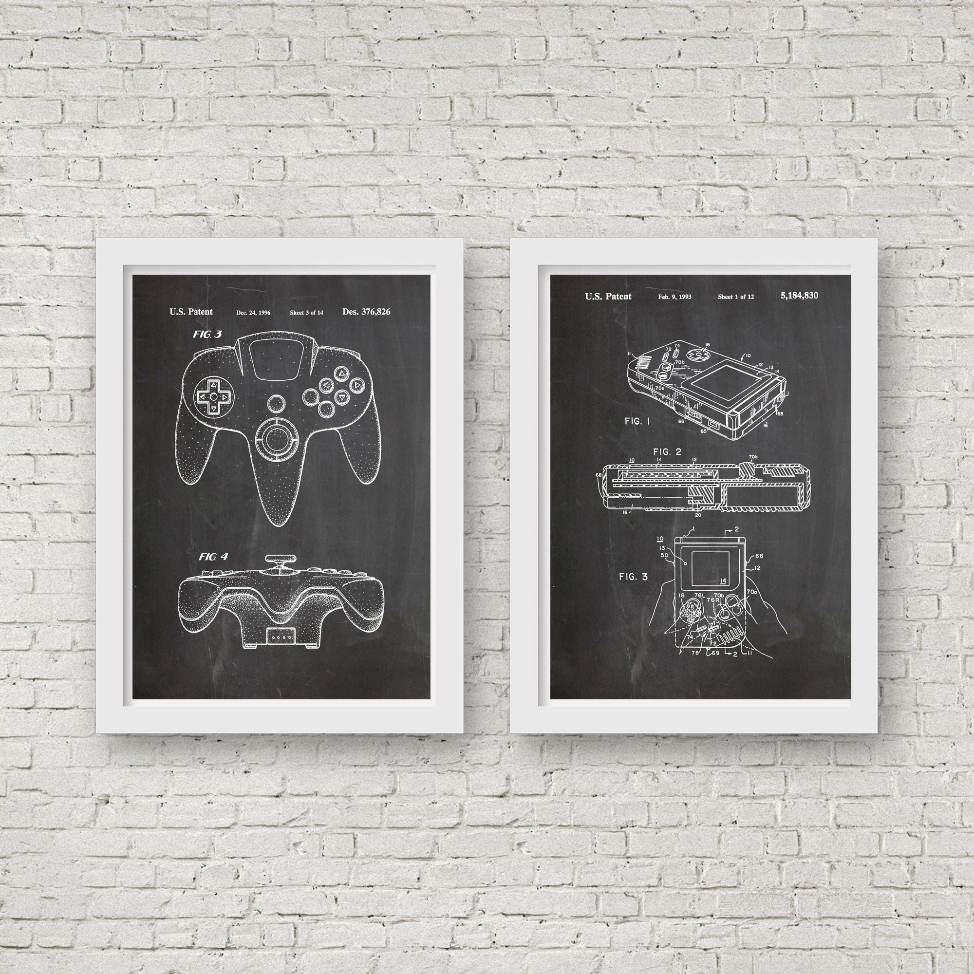 Nintendo Wall Art nintendo posters video game art set of nintendo patent prints